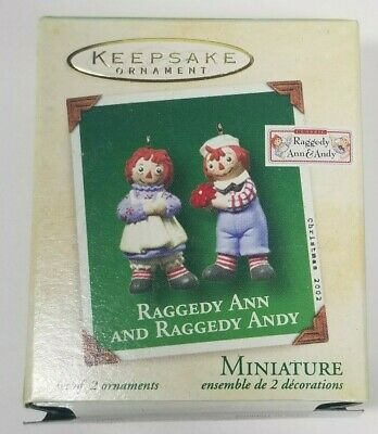 Hallmark Ornament Miniature Raggedy Ann & Raggedy Andy 2002 New Old Stock