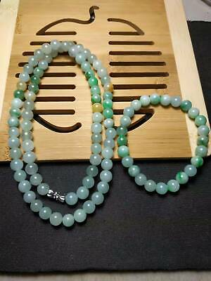 2 Grade A 100% Natural Burma Jadeite Jade Beaded Necklace bracelet