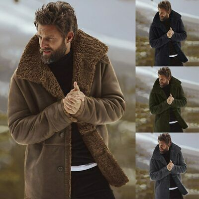 Mens Coat Fashion Brand Clothing Fleece Lined Thick Warm Woolen Overcoat Male