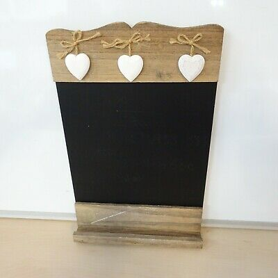 38cm Small Chalkboard Writing Tablet Black Heart Shabby Chic Wall Hanging 2A