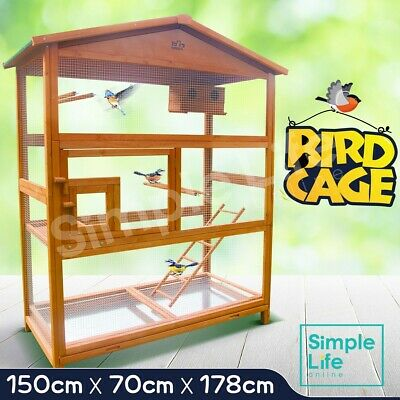 Large Pet Bird Cage Wooden Parrot Aviary Budgie Canary Cockatoo Perch House