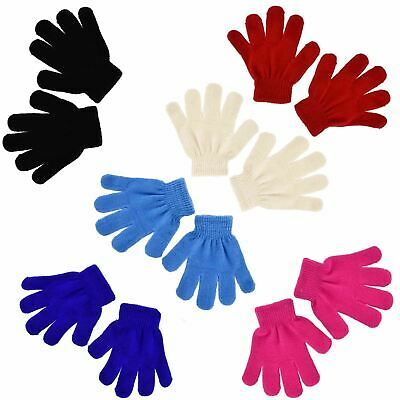 New Boys Girls Warm Magic Gloves Winter Protection Stretchy Knitted 5 Colours