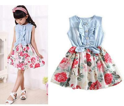 New Summer Floral Toddler Kids Girl Dresses Girls Clothes Dress Size 2-8 Years