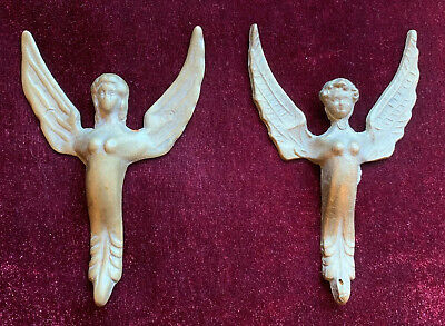 Pair of Antique French Empire Brass Sphinx Winged Creature Furniture Pediment