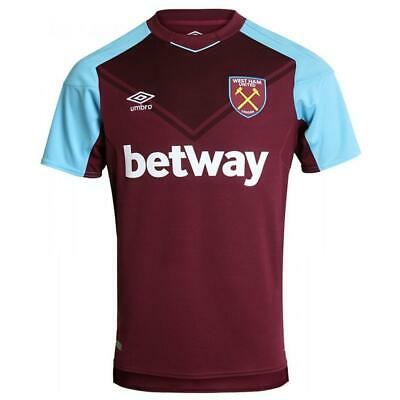 West Ham United Home Shirt Umbro Mens Claret Blue Football Jersey 2017 18 Small