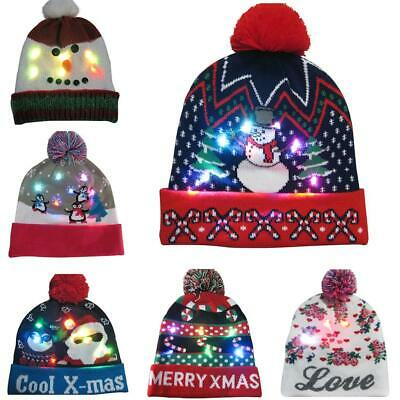Christmas Glowing Hat Led Colorful Light Up Knit Wool Cap Xmas Home Decoration