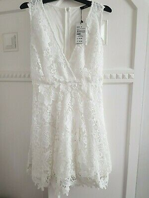quiz dress brand new tagged off white size 8 fit n flare lace overlay