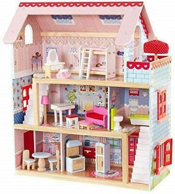 3 Storey Play Chelsea Cottage Wooden Dolls House With Furniture And Accessories