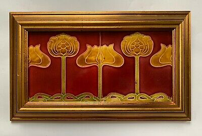 Stunning Original Antique Art Nouveau Majolica 2 x framed Tiles C1905 Boote