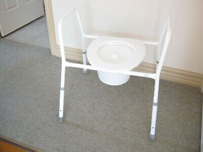 Over-toilet Frame / Commode. Extra Wide - Weight Cap 200 kgs. Adjustable Height