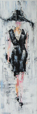 Abstract Modern original figurative oil painting Woman in black.Wall art