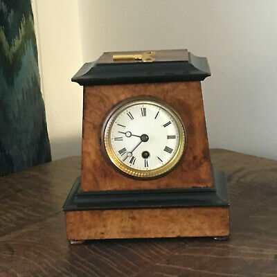 Antique burr walnut ebonized mantle pendulum clock 22cm x 20cm x 12cm