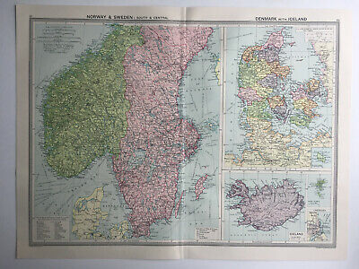 Map Of Norway & Sweden Denmark Iceland   1930 Large