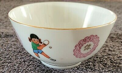 Pair of Vintage Liling Chinese Porcelain Ping Pong Boy Soup Spoon w Gold Rim