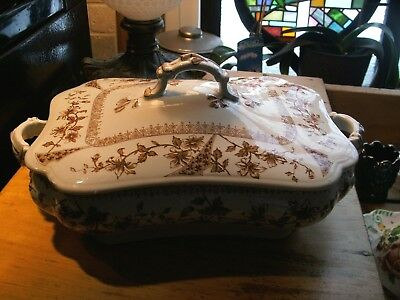ANTIQUE EIFFEL DALE HALL POTTERY TUREEN & LID  Brown Aesthetic Victorian England
