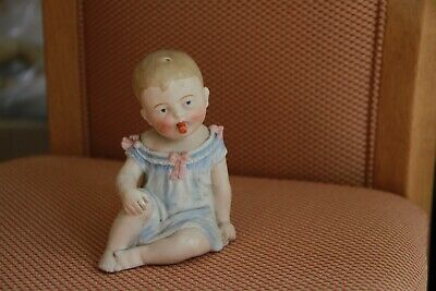 """Adorable Antique Porcelain Piano Baby 5"""" Seated marked 107"""