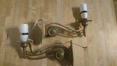 A Stunning Pair Of Antique Brass Art Nouveau Piano Candle Wall Sconce Reclaimed