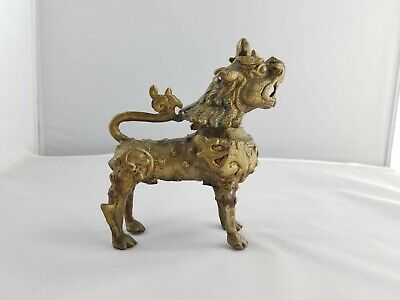 """Vintage Lucky Foo Dog Lion Unicorn Winged Brass Chinese Fengshui 7"""" Figurine"""