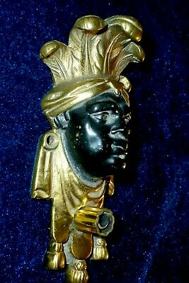 French Gilded And Painted Bronze/Brass Decor Mount Pediment Face / Head