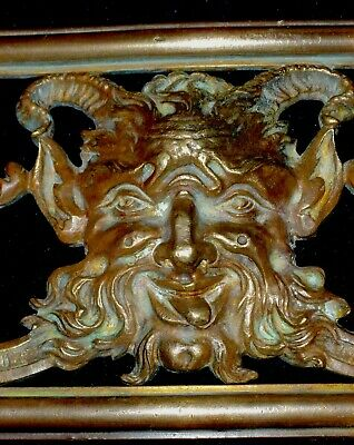 French Gilded Brass/ Bronze Decor Furniture Mount, Pediment Devil, Faun Face