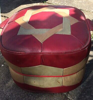 Vintage Sherborne Leather Footstool Pouffe Star Design Red Cube 1960s 1970s