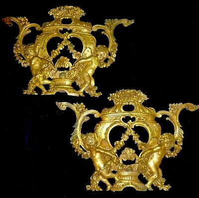Pair Of Large French Gilded Brass/ Bronze Pediments Decors Angels Flower Swags