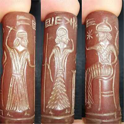Sassanian Old inscription Carnelian intaglio stone lovely seal BEAD  # 30