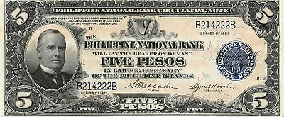 Philippines  5  Pesos   Series of 1921  P 53a  Circulated Banknote Me16