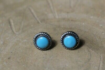 Vintage Navajo Sterling Silver & Turquoise Pierced Stud Earrings Signed