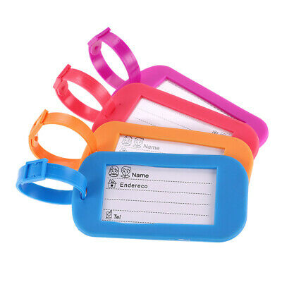 4x Travel Luggage Silicone Tags Labels Strap Name Address Tel Suitcase Baggage