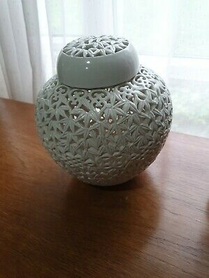 Chinese Large Pierced  White  Ginger Jar with  Cover