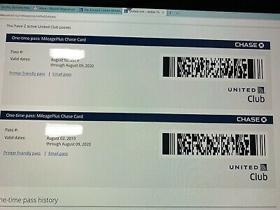 One United Club Pass - Expires August 09 2020 - Electronic Delivery  2 Available