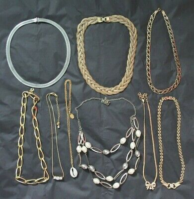 Vintage 1980s Signed Gold & Silver Tone Chain Collar NECKLACES Jewellery Job Lot