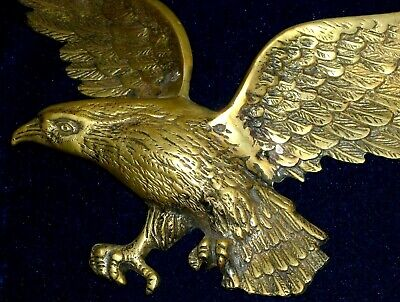 FRENCH GILDED BRONZE/BRASS DECOR MOUNT PEDIMENT EAGLE 45 x 34cm