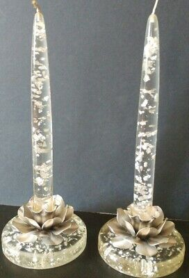 Vintage Candle Holders Sticks Tapers Mid Century Lucite Silver Foil Inclusions 8