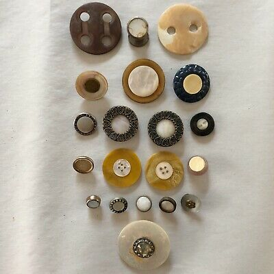 Beautiful Lot o' Antique ~ Vintage Shell & Mother of Pearl Inlay Buttons