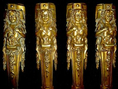 FOUR LARGE FANTASTIC FRENCH GILDED BRASS DECORS MOUNTS PEDIMENTS CARYATIDES 29cm