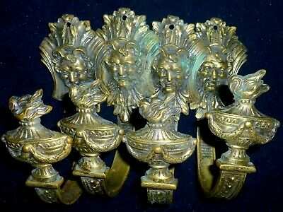 Two Pairs Antique French Gilded Bronze/ Brass Tiebacks Devil Face, Flame, Urn