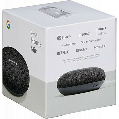 Factory Sealed Google Home Mini Charcoal Gaoo216-Us Smart Speaker Assistant