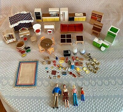 Tomy Smaller Homes 90 pc Furniture & Rare Accessories Lot Mid Century Vintage