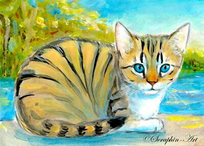 Original ACEO Miniature Painting Cat Seaside Lakefront Landscape Seraphin-Art