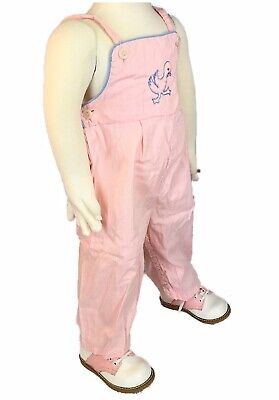 Vintage Baby Girl Pink Overalls Duck Embroidery Snap Legs 1960's