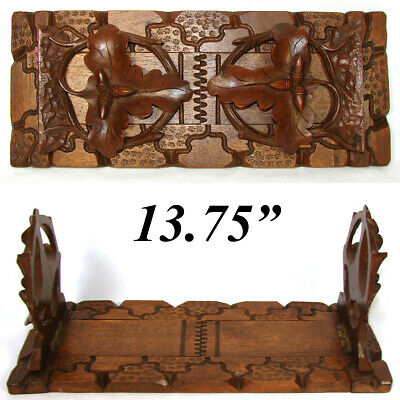 Antique Victorian Black Forest Carved Telescoping Book Rack, Oak Leaves & Acorns