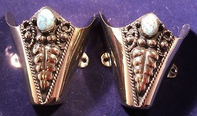 New Western Cowboy Boot Toe Tip Rand Hand Carved Black And Silver W/ Blue Stone