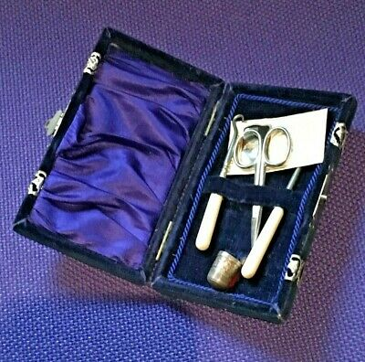 Victorian Childs Velvet Sewing Kit Etui Collectable Antique