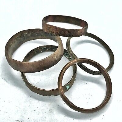 5 Authentic Ancient Or Medieval Wedding Band Ring Artifact Lot Roman Europe Old