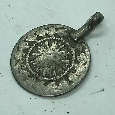 Antique Middle Eastern Pendant Made W/ Late Or Post Medieval Token Or Coin Old