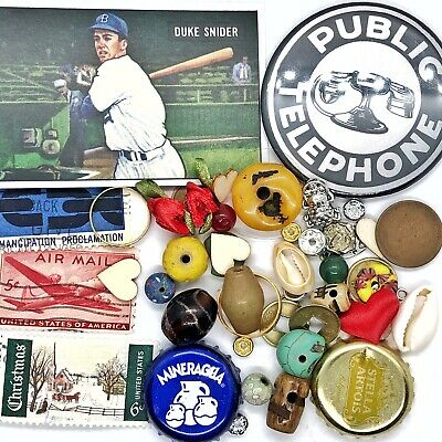 Old Antique Vintage Junk Drawer Mixed Estate Lot Coin Stamp Jewelry Card Bead :