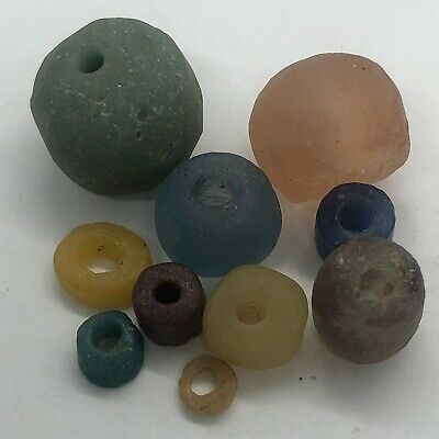 10 Authentic Ancient Roman Empire Glass Beads Artifacts Antiquities Old Bible