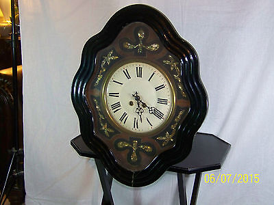 Antique c1870's French Clock Napoleon III Ebonized & Mother of Pearl Wall Clock